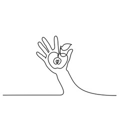 abstract hand holding apple continuous one line vector image