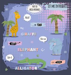 african animals characner giraffeelephant vector image