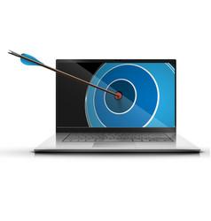 an arrow and a laptop vector image