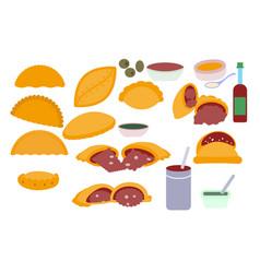 An empanada set vector