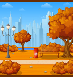 autumn city park with bench and town buildings vector image