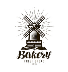 Bakery bakehouse logo or label windmill mill vector