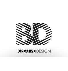 Bd b d lines letter design with creative elegant vector
