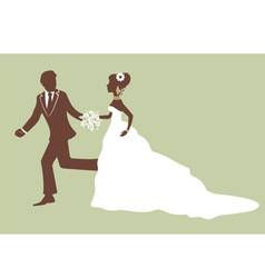 Beautiful bride and groom running vector