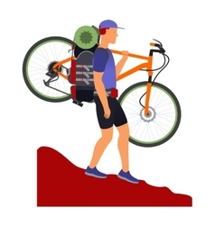 Bicycle travel Man descends from the mountains vector