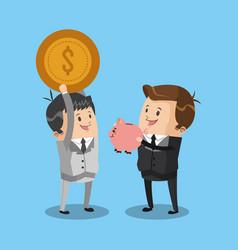 business teamwork saving money vector image
