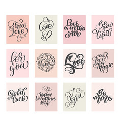 calligraphy set love valentines day cards vector image