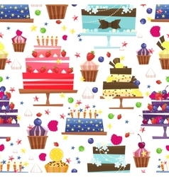 Candy sweets and cakes seamless pattern vector image