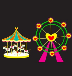 Carousel horse and Ferris wheel of love vector image