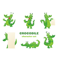 Cartoon crocodile characters alligator wild vector