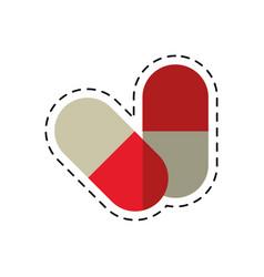 cartoon medicine capsule pills drug vector image