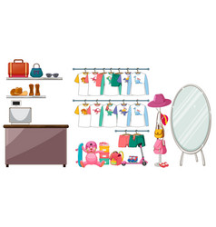 children clothes hanging on clothes rack with vector image