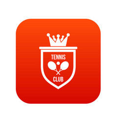 coat of arms of tennis club icon digital red vector image