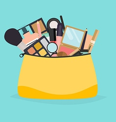 Cosmetic bag with makeup stuff Beauty style vector