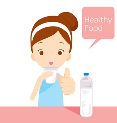 Cute girl drinking water vector