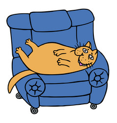 Cute lazy orange fat cat is lying on a armchair vector
