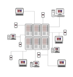 Data isometric set with center and network vector image
