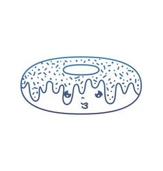 Degraded line kawaii sad donut tasty snack vector