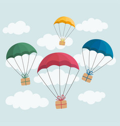 delivery concept colorful parachute carrying gift vector image