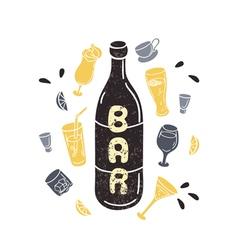 Doodle wine bottle in Hand drawn textured vector