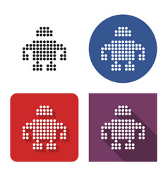 Dotted icon robot in four variants with short vector