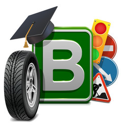 Driving school concept vector