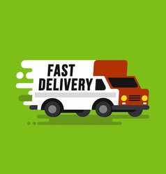 Fast shipping delivery truck in flat style vector