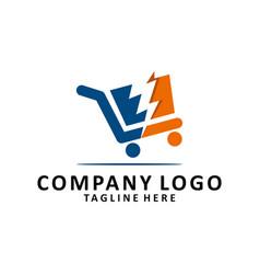 flash shopping logo vector image