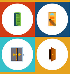 Flat icon door set of entry frame lobby and vector