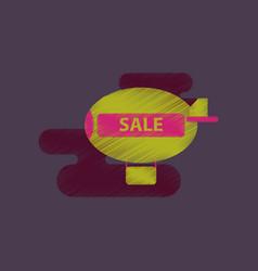 Flat shading style icon air balloon sale vector