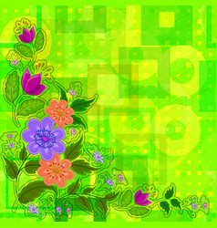 flowers on abstract background vector image