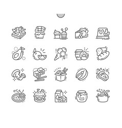 Food well-crafted pixel perfect thin line vector