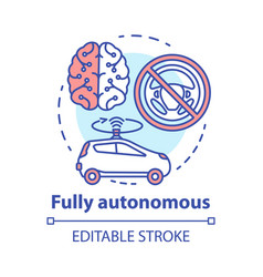 Fully autonomous concept icon car driven by vector