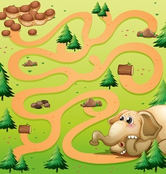 Game template with elephant and peanut vector