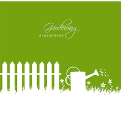 Gardening scene with watering can near fence on vector image vector image