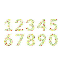 green floral numbers made leaves and flowers vector image