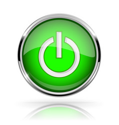 green round media button power button shiny icon vector image