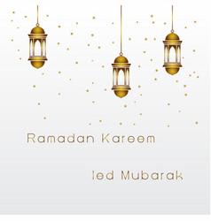 Greeting ramadan kareem ied mubarak with islamic vector