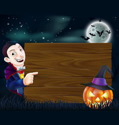 Halloween dracula wooden sign vector