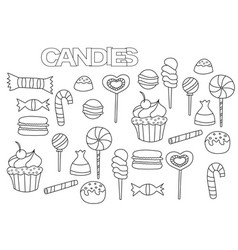 Hand drawn candy bar set coloring book page vector