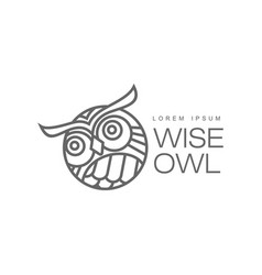 Hand drawn stylized owl bird icon vector