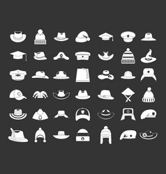 hat icon set grey vector image