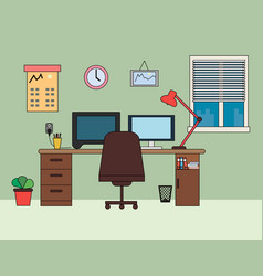 Home office workplace flat vector