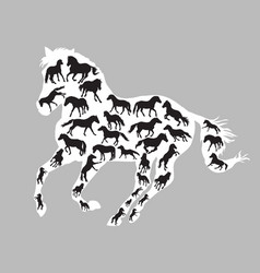 Horses silhouettes inside one horse vector