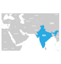India blue marked in political map south asia vector