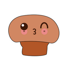 Kawaii mushroom champignon agriculture cartoon vector