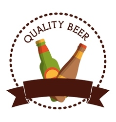 label two bottles beer quality banner vector image