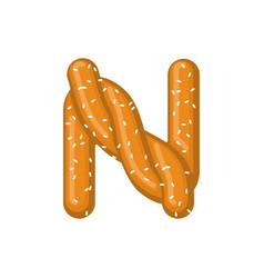 Letter n pretzel snack font symbol food alphabet vector