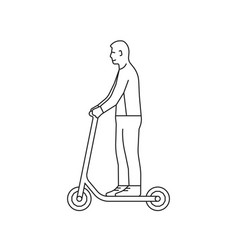 linear man rides on electric scooter vector image