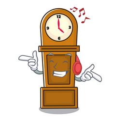 Listening music grandfather clock mascot cartoon vector